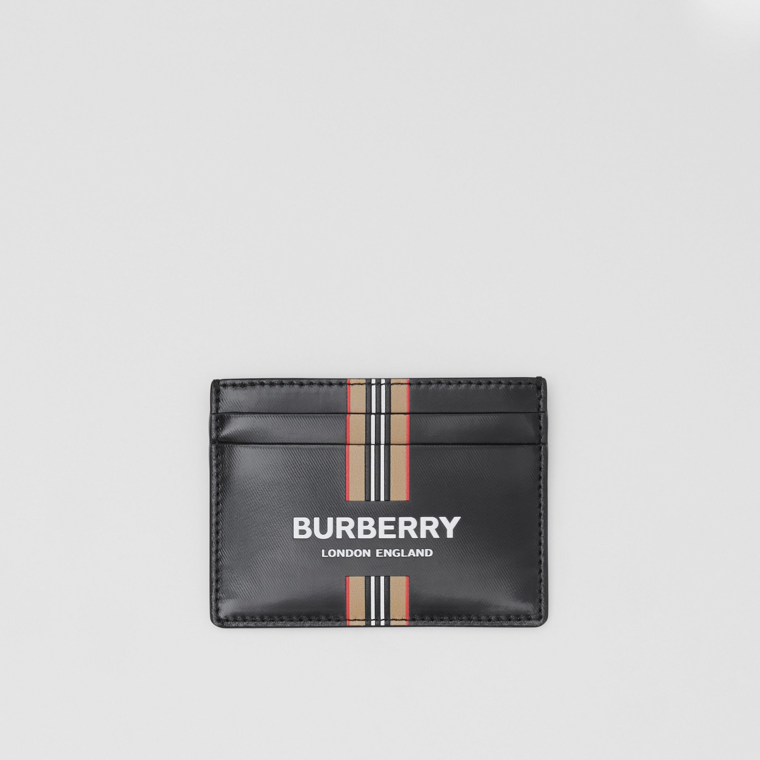 Logo and Icon Stripe Print Coated Canvas Card Case in Black - Men | Burberry United States - 1