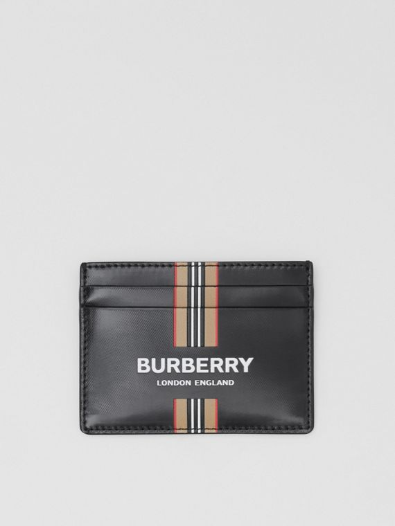 Logo and Icon Stripe Print Coated Canvas Card Case in Black