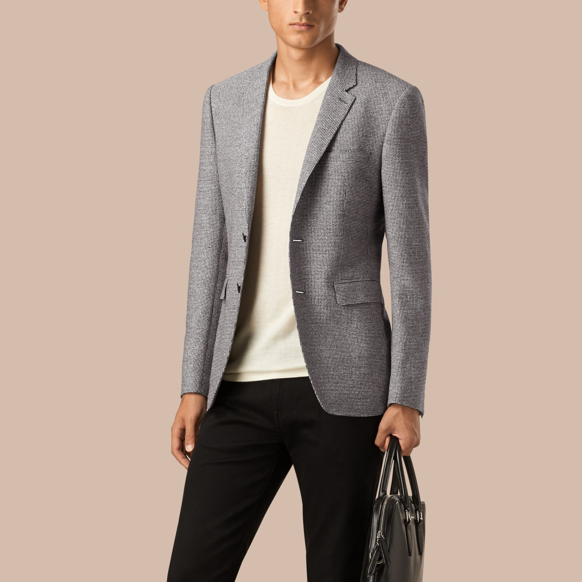 Mid grey Slim Fit Puppy Tooth Cotton Wool Linen Tailored Jacket - gallery image 1