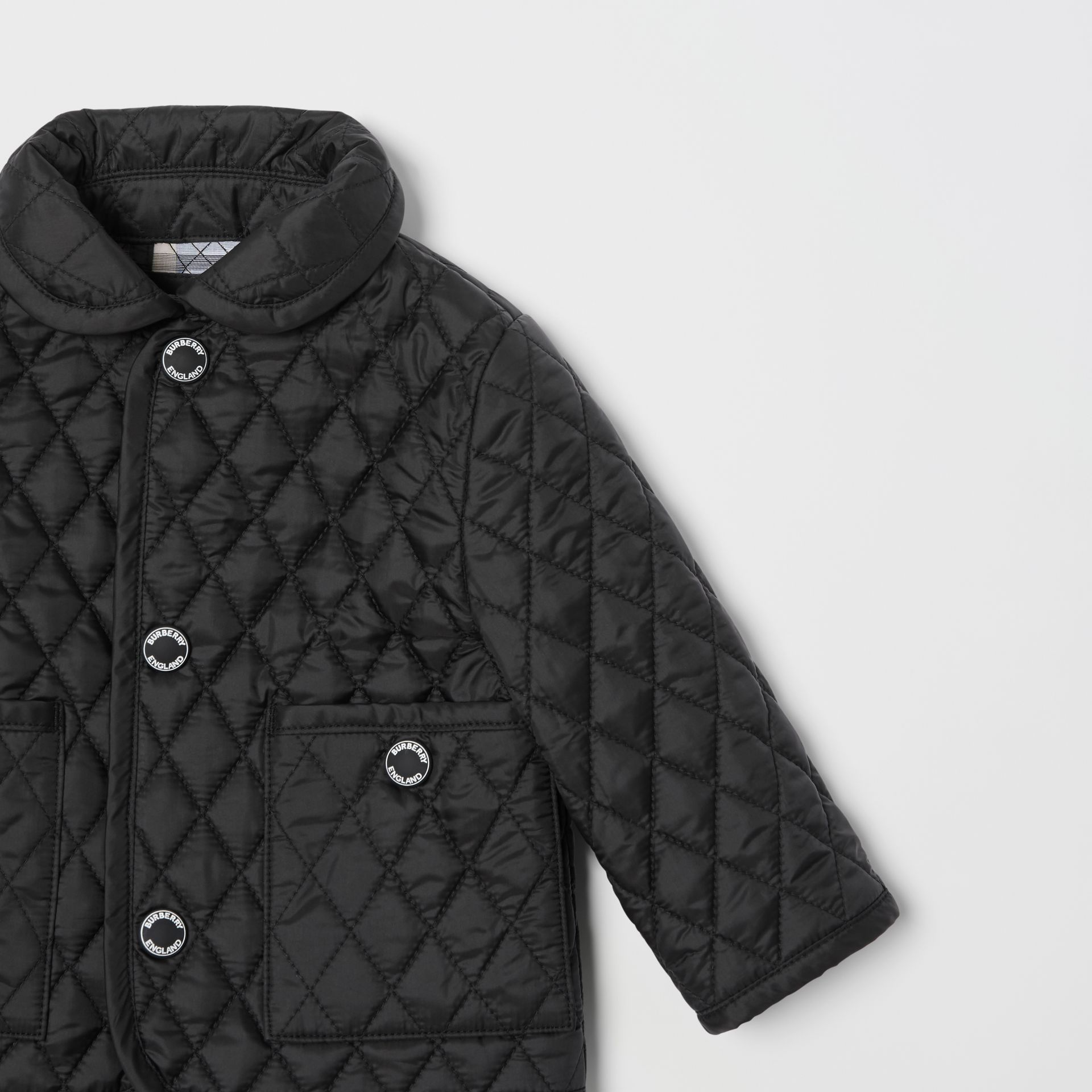 Showerproof Diamond Quilted Jacket in Black - Children | Burberry - gallery image 5