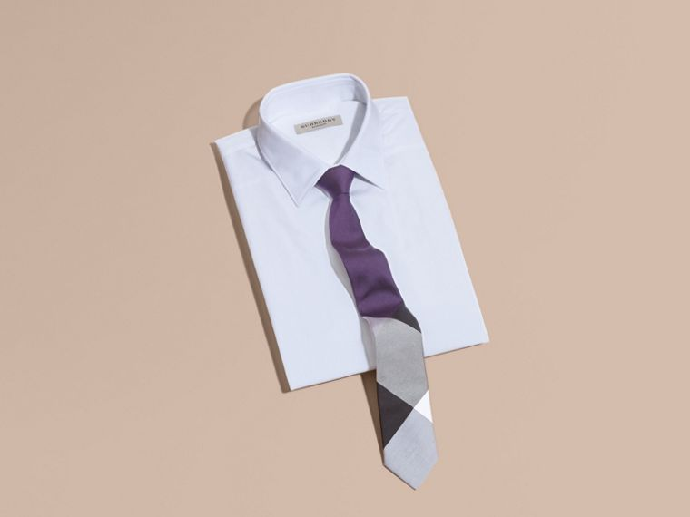 Purple black Slim Cut Check Silk Cotton Tie Purple Black - cell image 2