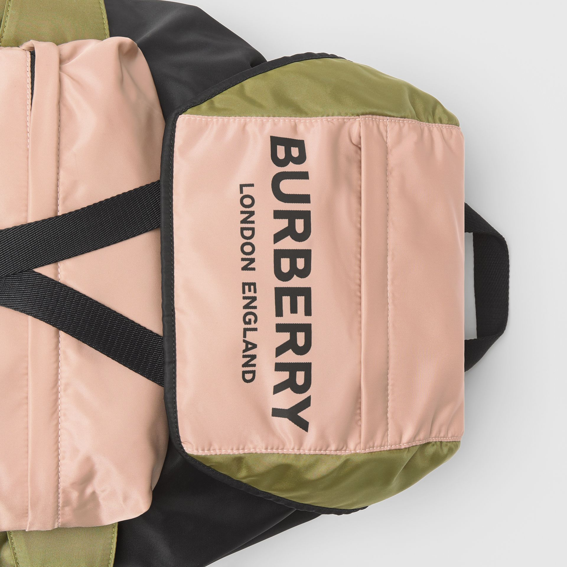 Logo Print Tri-Tone Nylon Backpack in Rose Beige - Women | Burberry - gallery image 1