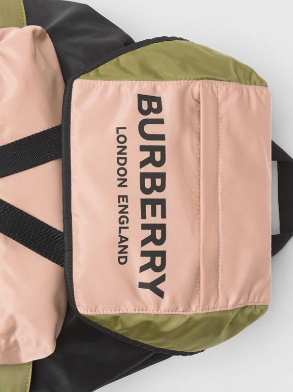 Logo Print Tri-Tone Nylon Backpack in Rose Beige - Women | Burberry United Kingdom - cell image 1