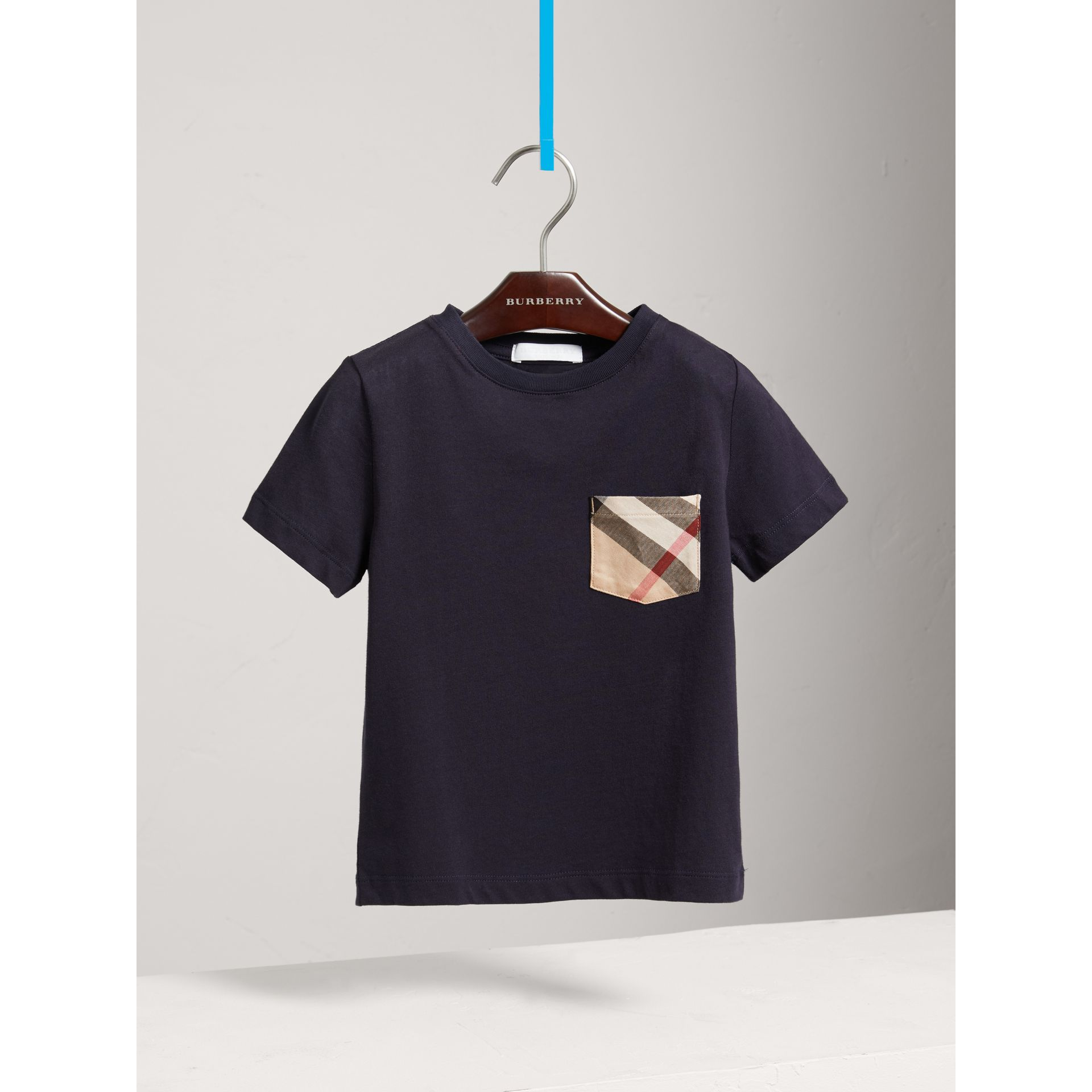 Check Pocket Cotton T-shirt in True Navy - Boy | Burberry - gallery image 0