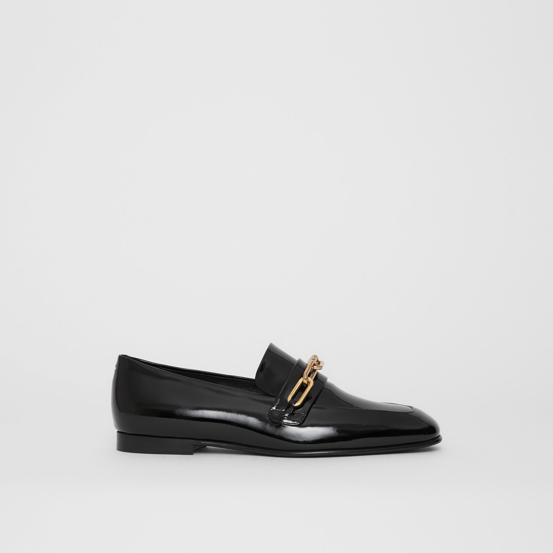 Link Detail Patent Leather Loafers in Black - Women | Burberry - gallery image 5