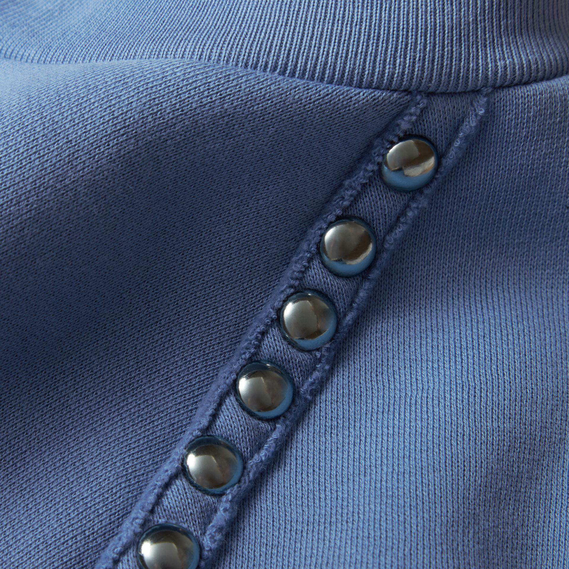 Light blue Stud Detail Cotton-blend Sweatshirt - gallery image 2