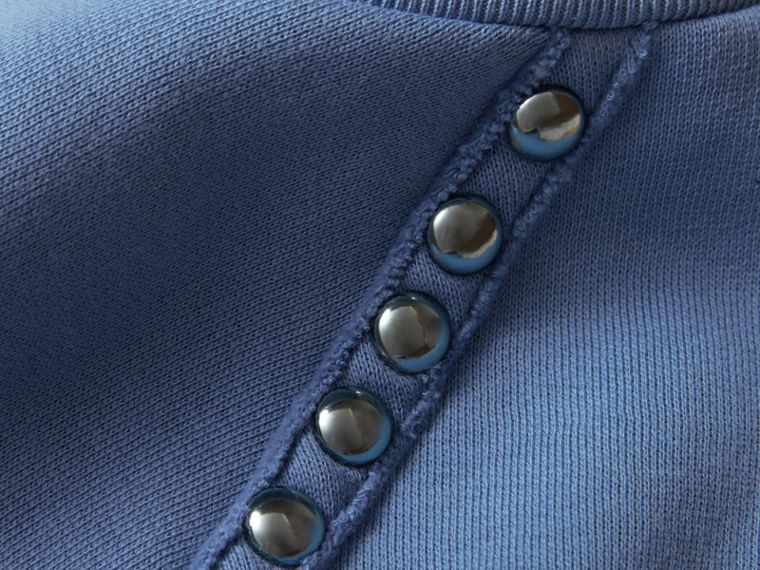 Light blue Stud Detail Cotton-blend Sweatshirt - cell image 1