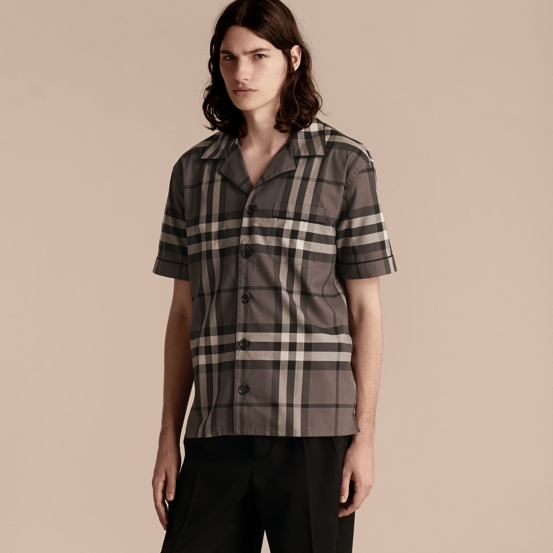 Charcoal Short-sleeved Check Cotton Pyjama-style Shirt Charcoal - gallery image 6