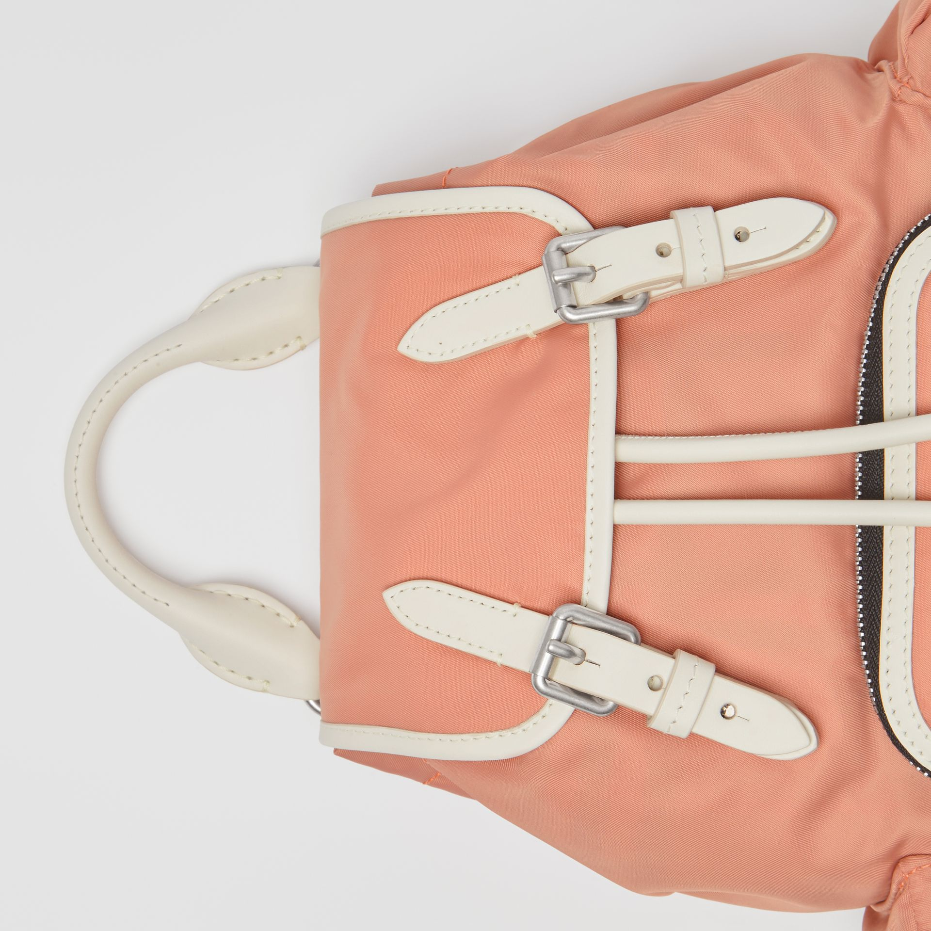 The Small Crossbody Rucksack in Nylon in Powder Pink - Women | Burberry United Kingdom - gallery image 1