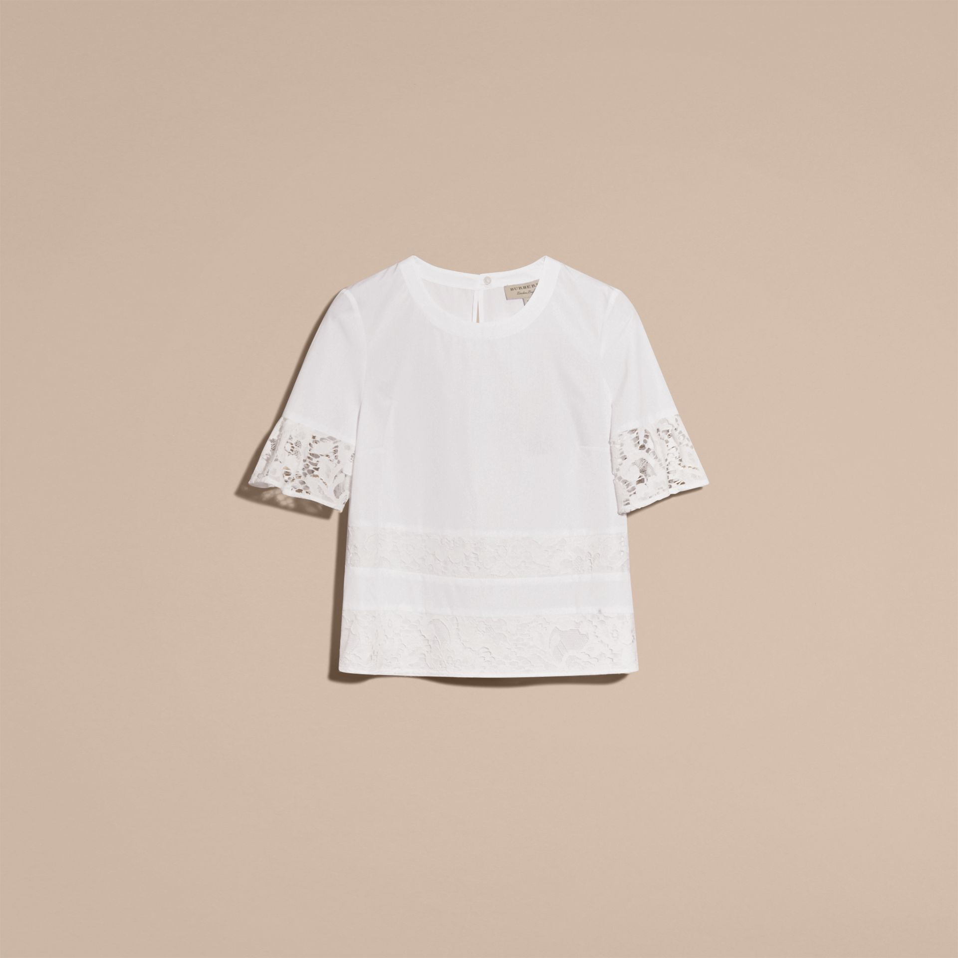 White Lace Detail Cotton T-shirt - gallery image 4
