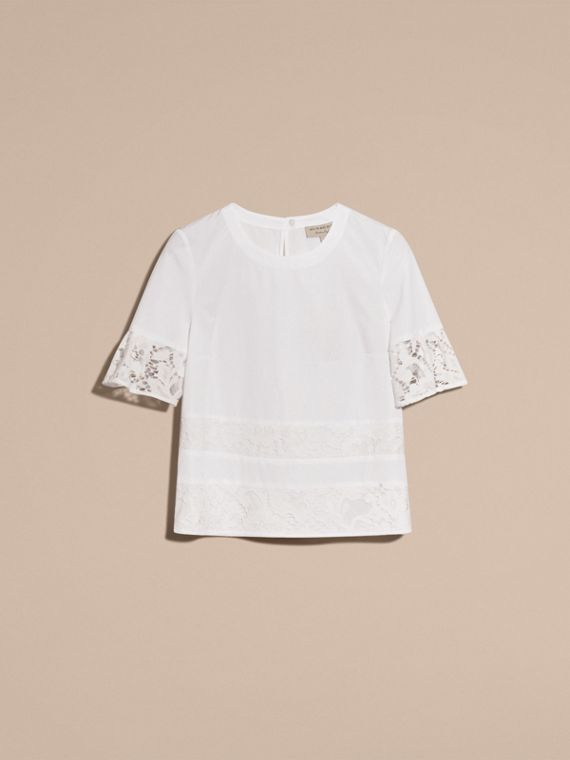 White Lace Detail Cotton T-shirt - cell image 3
