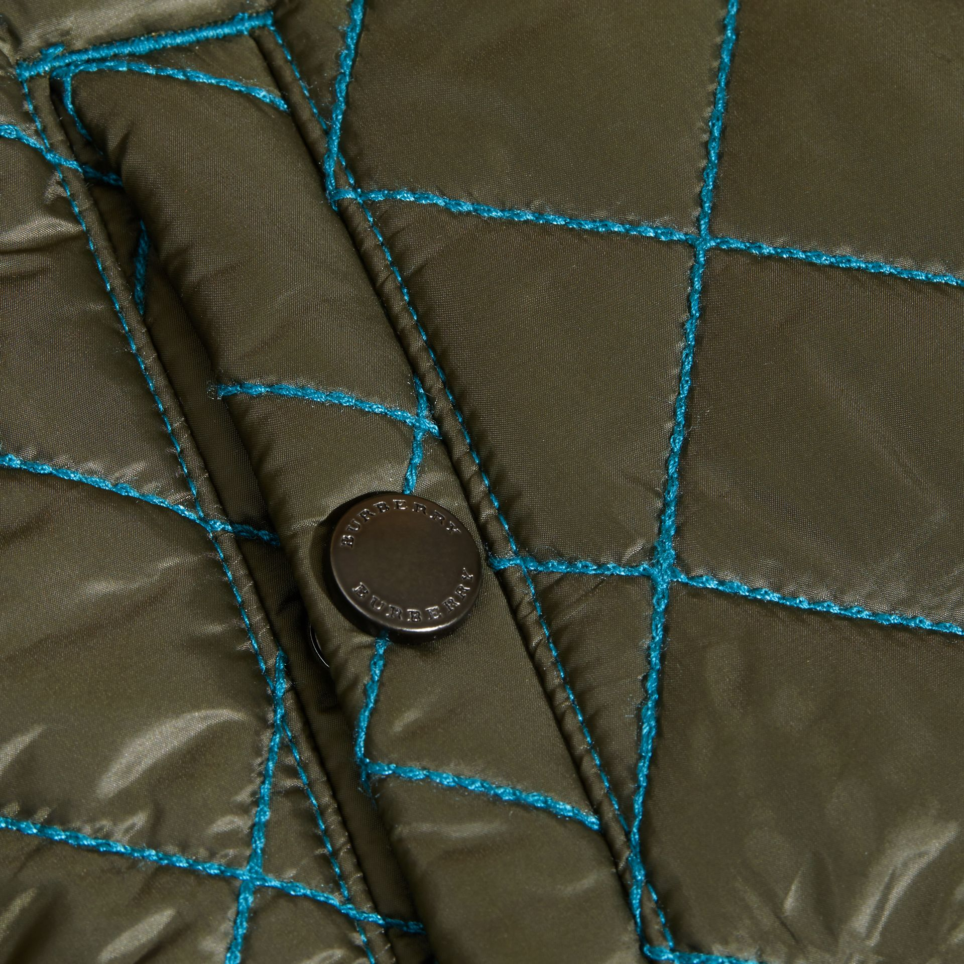 Olive green Quilted Technical Jacket with Contrast Topstitch Detail - gallery image 2