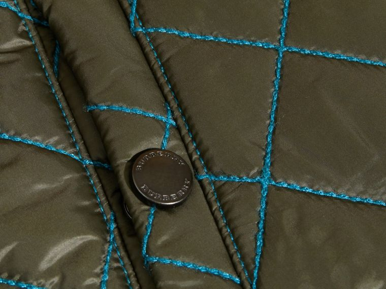 Olive green Quilted Technical Jacket with Contrast Topstitch Detail - cell image 1