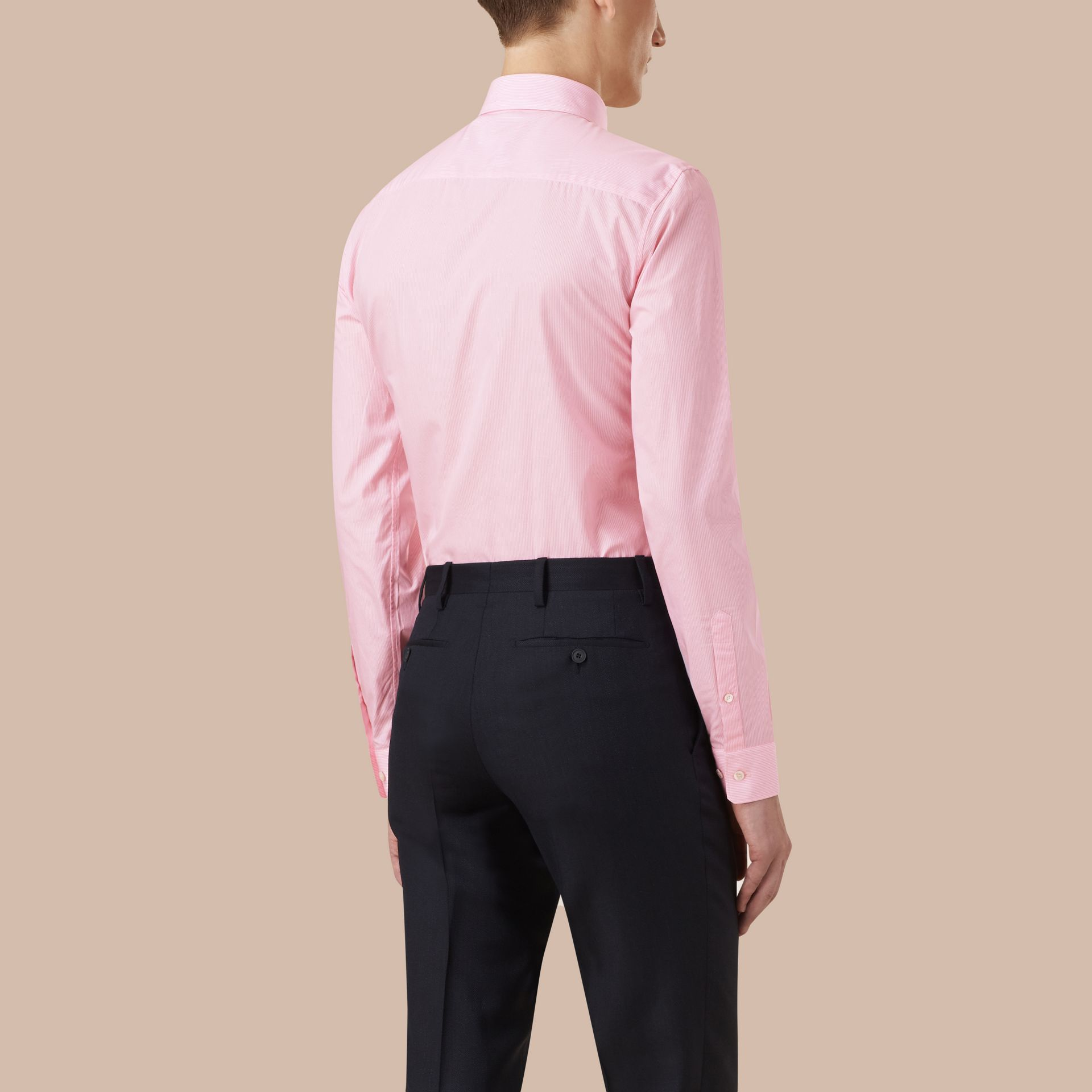 Slim Fit Striped Cotton Poplin Shirt in City Pink - Men | Burberry - gallery image 3