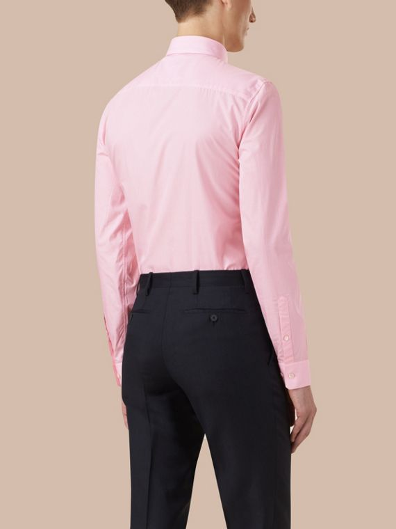 Slim Fit Striped Cotton Poplin Shirt in City Pink - cell image 2