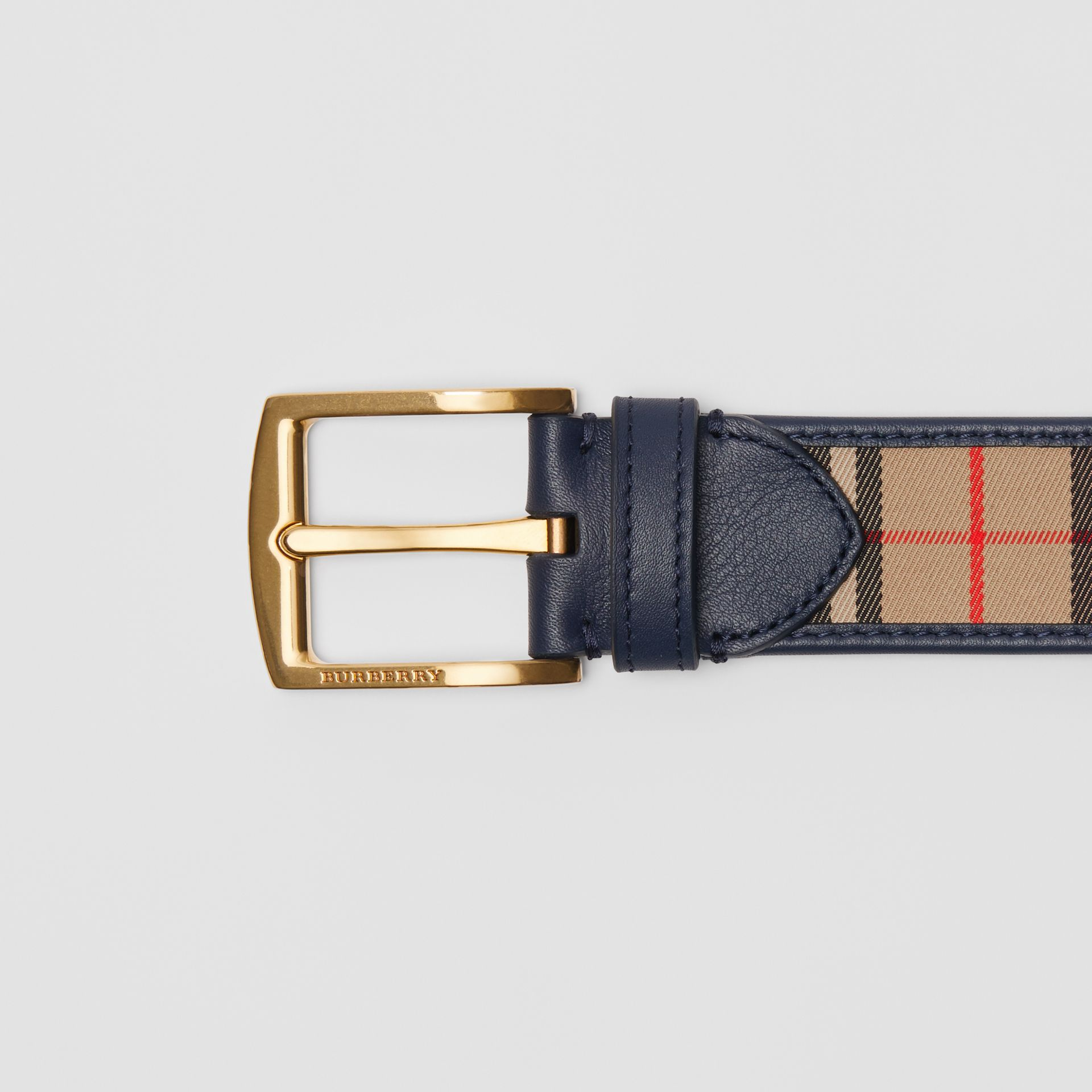 1983 Check and Leather Belt in Ink Blue - Men | Burberry Canada - gallery image 1