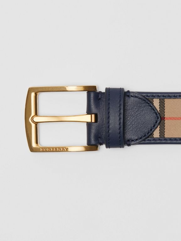 1983 Check and Leather Belt in Ink Blue - Men | Burberry - cell image 1