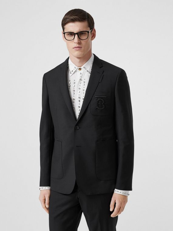 Slim Fit Monogram Motif Wool Mohair Tailored Jacket in Black