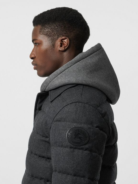 Wool Flannel Down-filled Car Coat in Dark Grey Melange - Men | Burberry United States - cell image 1