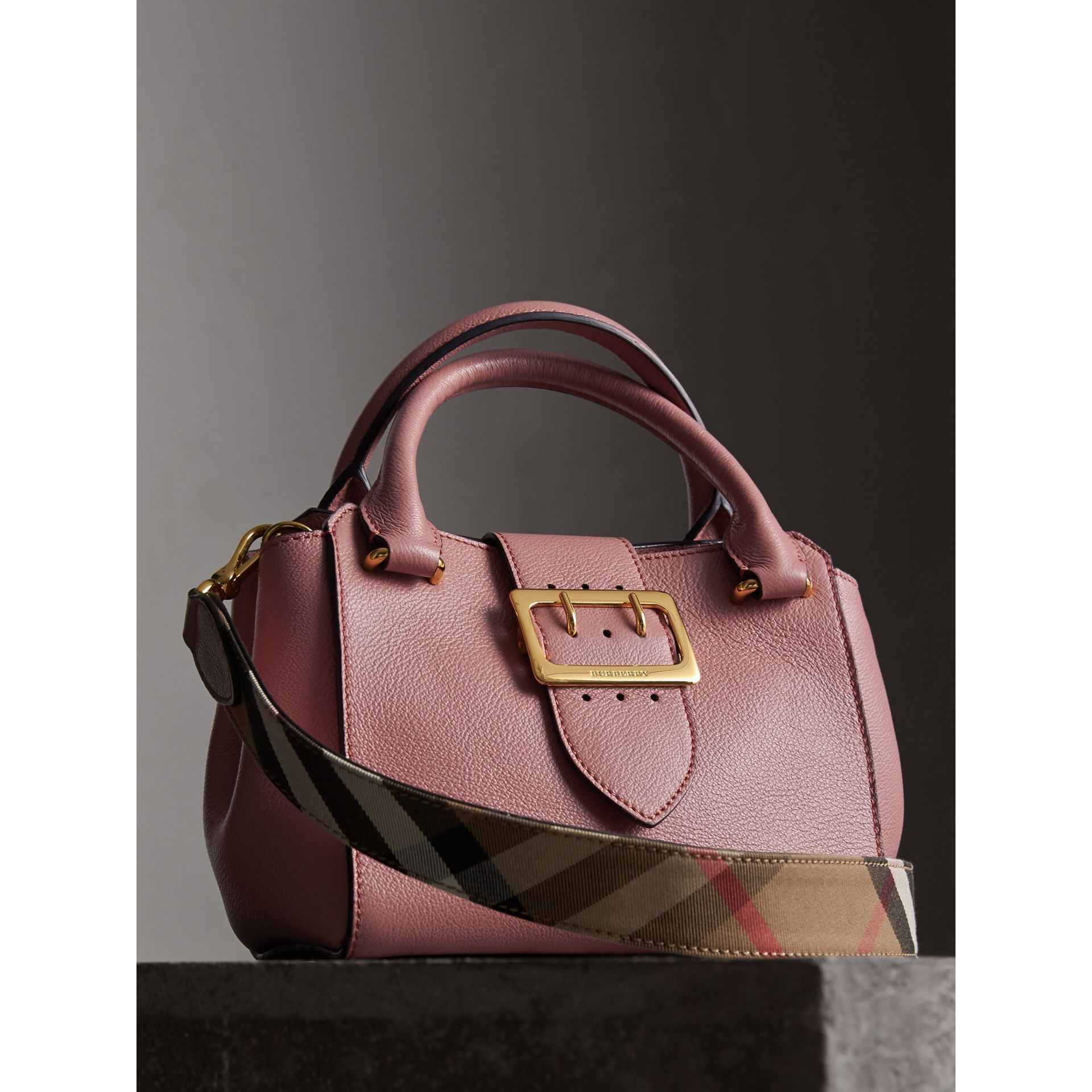 The Small Buckle Tote in Grainy Leather in Dusty Pink - gallery image 7