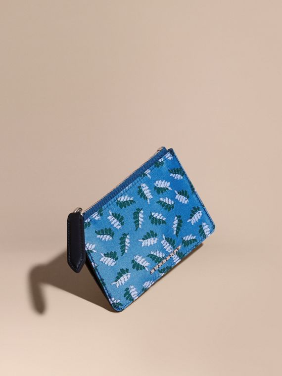 Leaf Jacquard Zip-top Wallet Deep Cerulean Blue