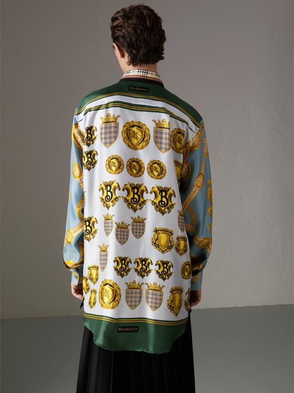 Seidenhemd mit Vintage-Aufdruck (Anthrazitfarben)   Burberry - cell image 2