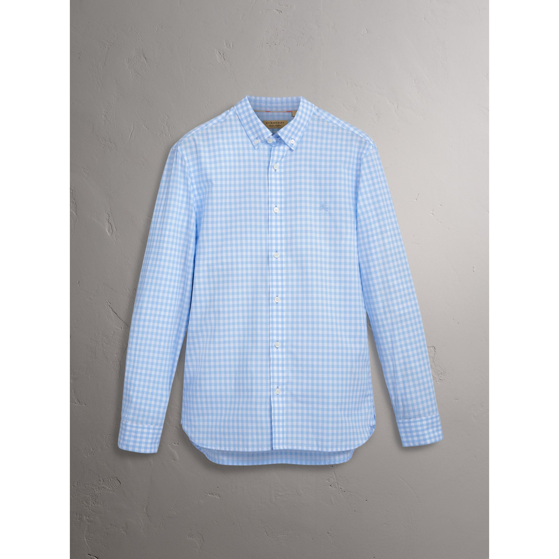 Button-down Collar Gingham Cotton Shirt in Pale Blue - Men | Burberry Australia - gallery image 3