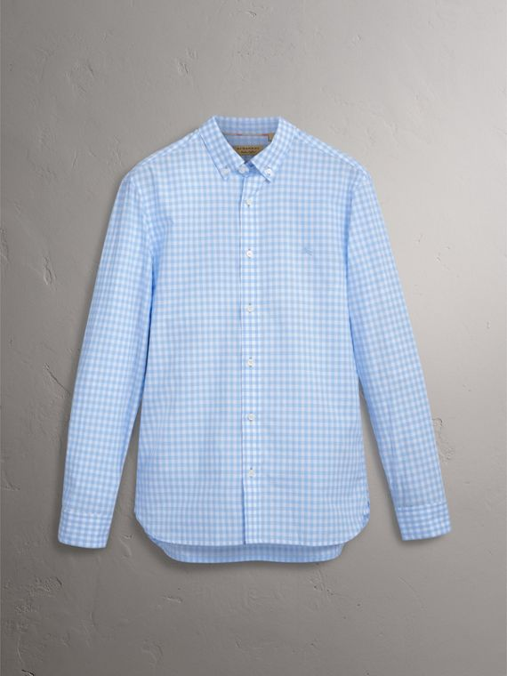 Button-down Collar Gingham Cotton Shirt in Pale Blue - Men | Burberry Australia - cell image 3