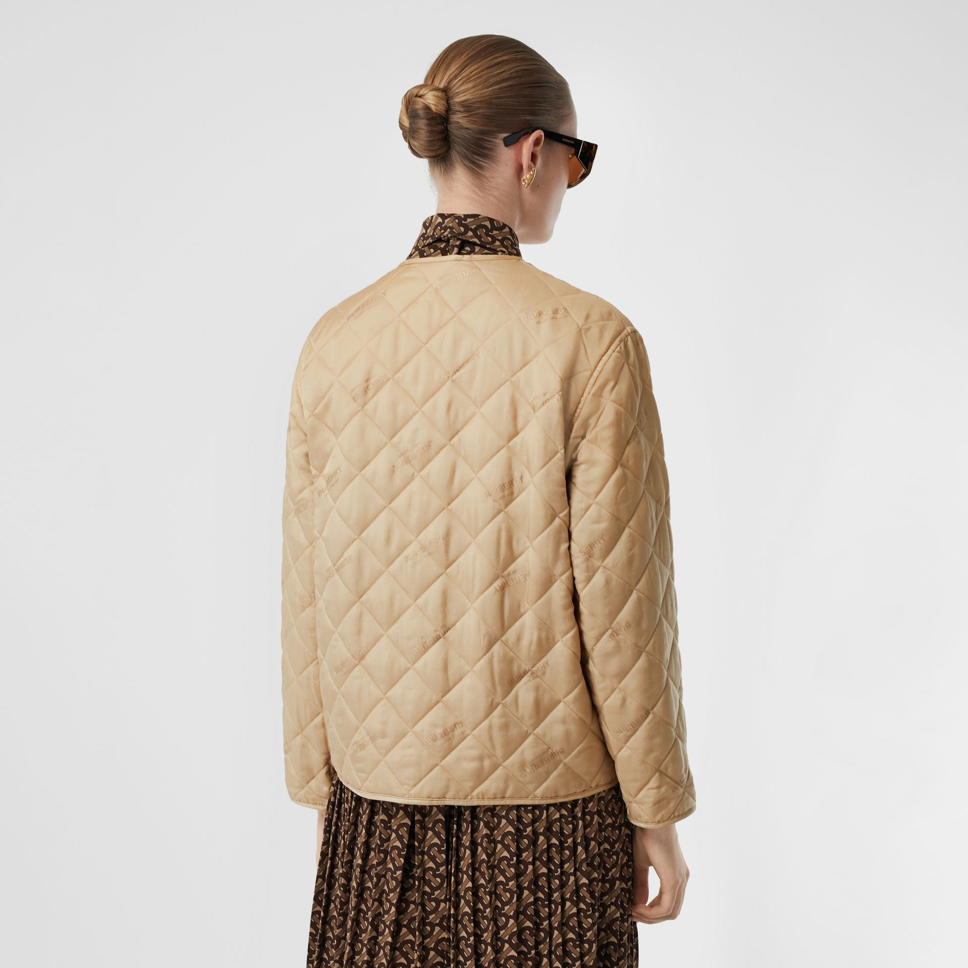 Logo Jacquard Diamond Quilted Jacket in Ecru - Women | Burberry United Kingdom - gallery image 2