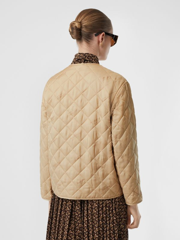Logo Jacquard Diamond Quilted Jacket in Ecru - Women | Burberry United Kingdom - cell image 2