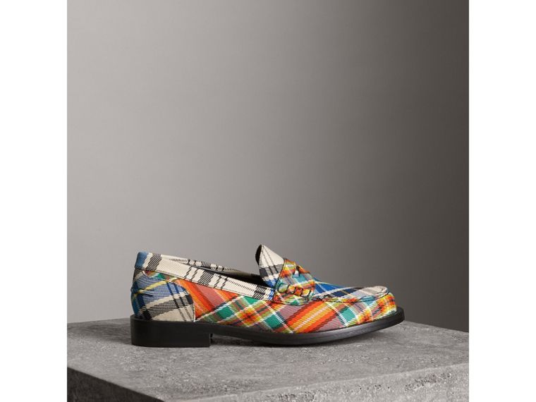 Tartan Cotton Penny Loafers in Poppy Orange - Women | Burberry - cell image 4