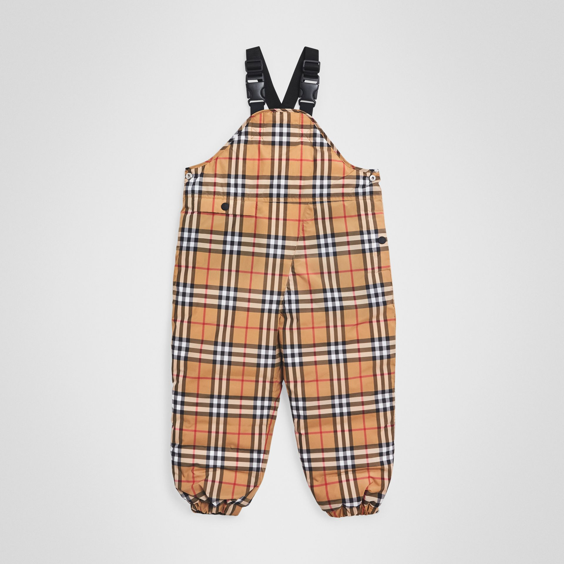 Showerproof Vintage Check Down-filled Dungarees in Antique Yellow - Boy | Burberry Australia - gallery image 0