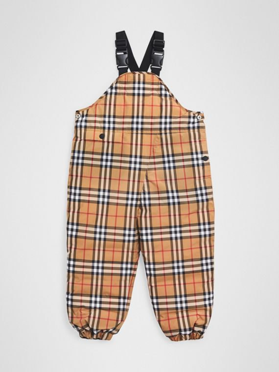 Showerproof Vintage Check Down-filled Dungarees in Antique Yellow