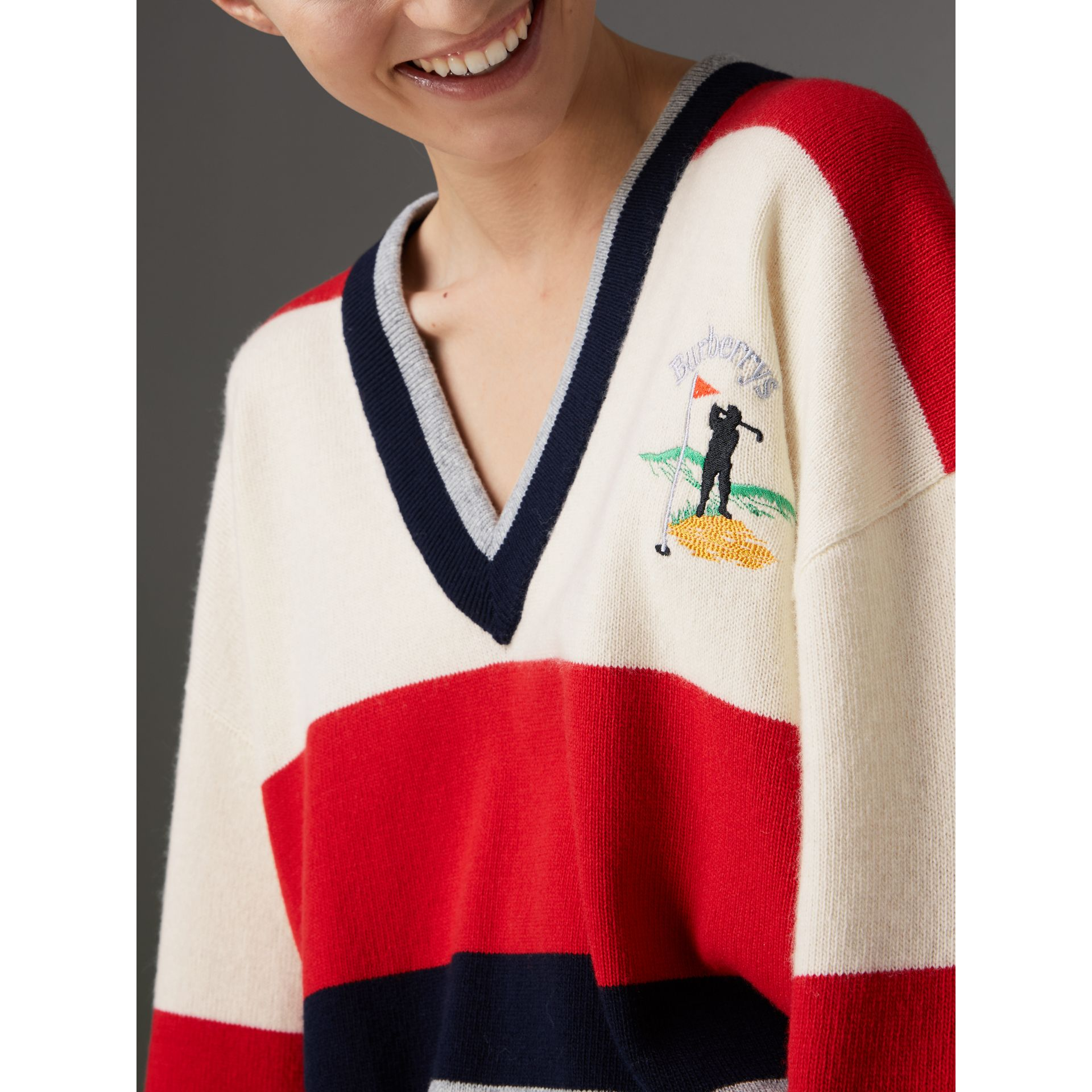 Reissued Striped Lambswool Sweater in Red/white - Women | Burberry United Kingdom - gallery image 1