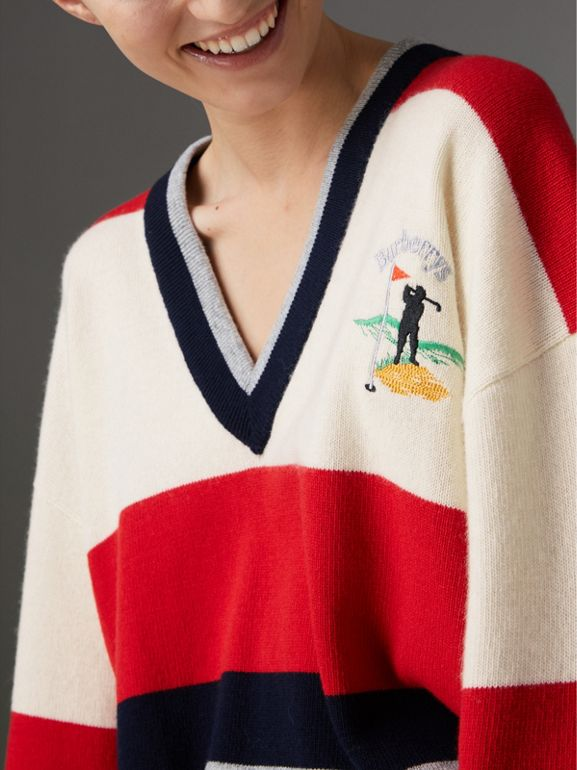 Reissued Striped Lambswool Sweater in Red/white - Women | Burberry Hong Kong - cell image 1
