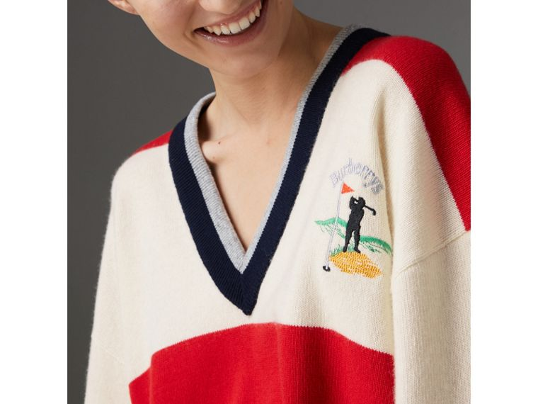 Reissued Striped Lambswool Sweater in Red/white - Women | Burberry United Kingdom - cell image 1