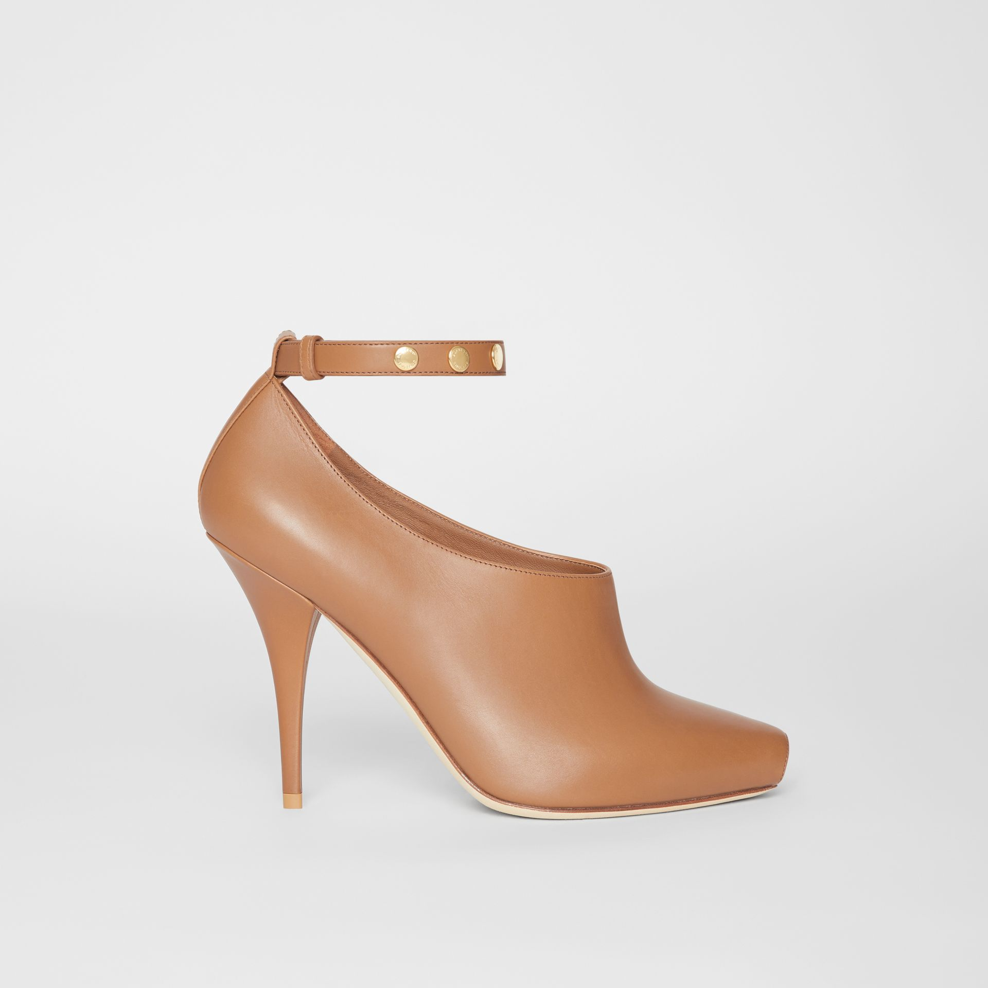 Leather Peep-toe Pumps in Amber Brown - Women | Burberry - gallery image 4