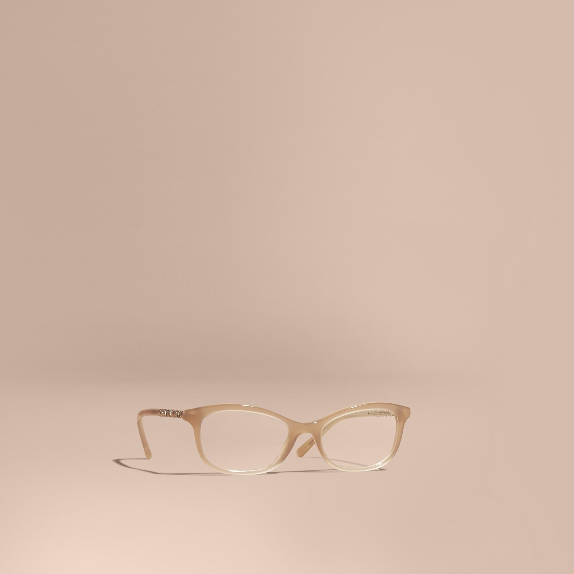 Grigio chino Montatura da vista ovale con dettaglio check Grigio Chino - immagine della galleria 1