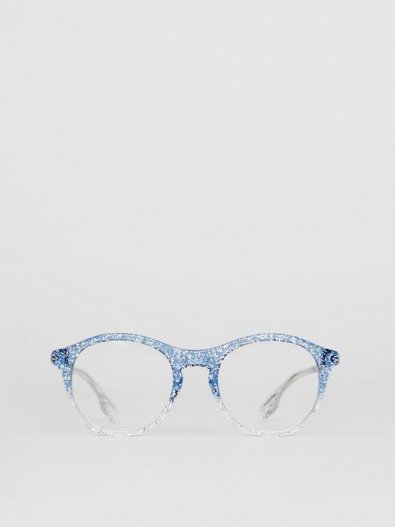Glitter Detail Round Optical Frames in Blue
