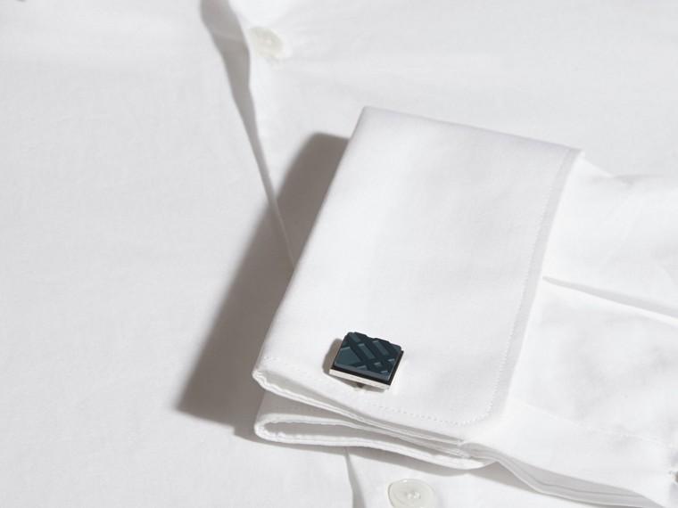 Lapis blue Check-engraved Square Cufflinks Lapis Blue - cell image 1