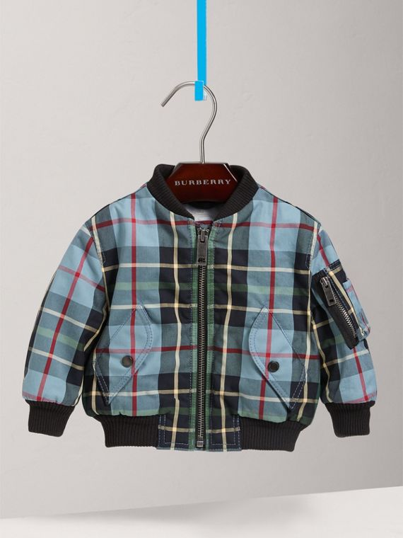 Tartan Padded Cotton Gabardine Bomber Jacket in Cyan Blue