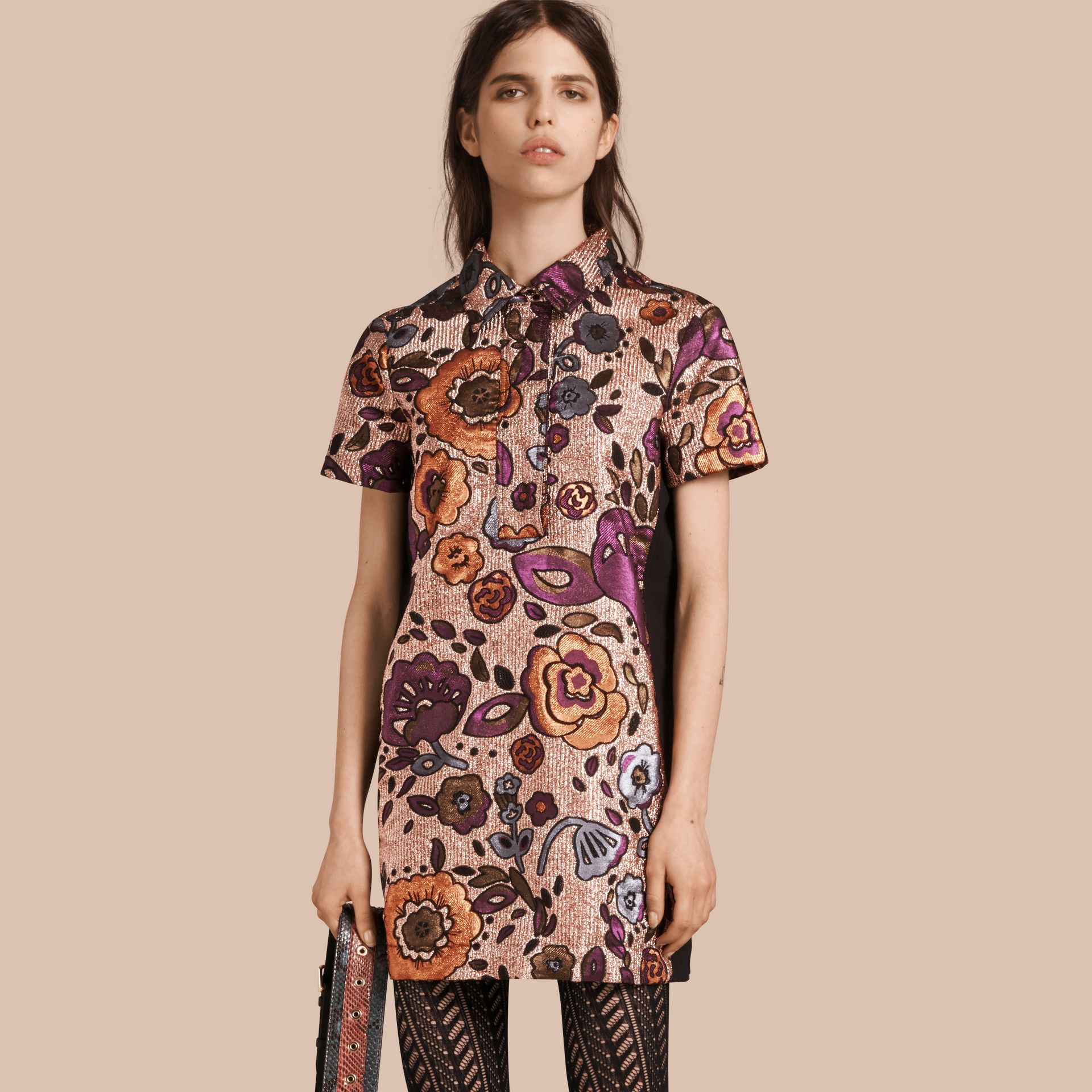 Copper rose Lamé and Floral Jacquard Shirt Dress - gallery image 1