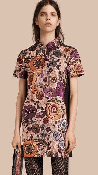 Lamé and Floral Jacquard Shirt Dress