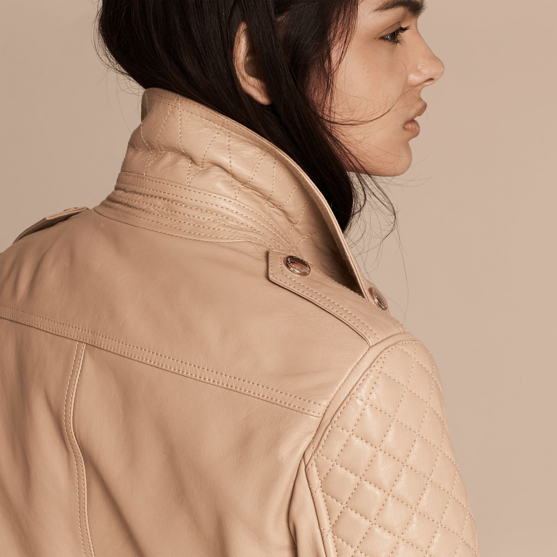 Honey Fitted Lambskin Biker Jacket - gallery image 5