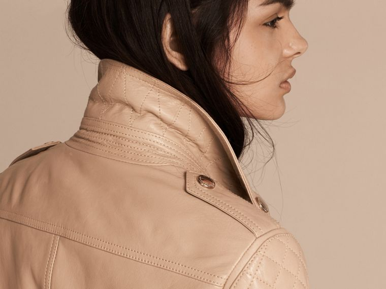Honey Fitted Lambskin Biker Jacket - cell image 4