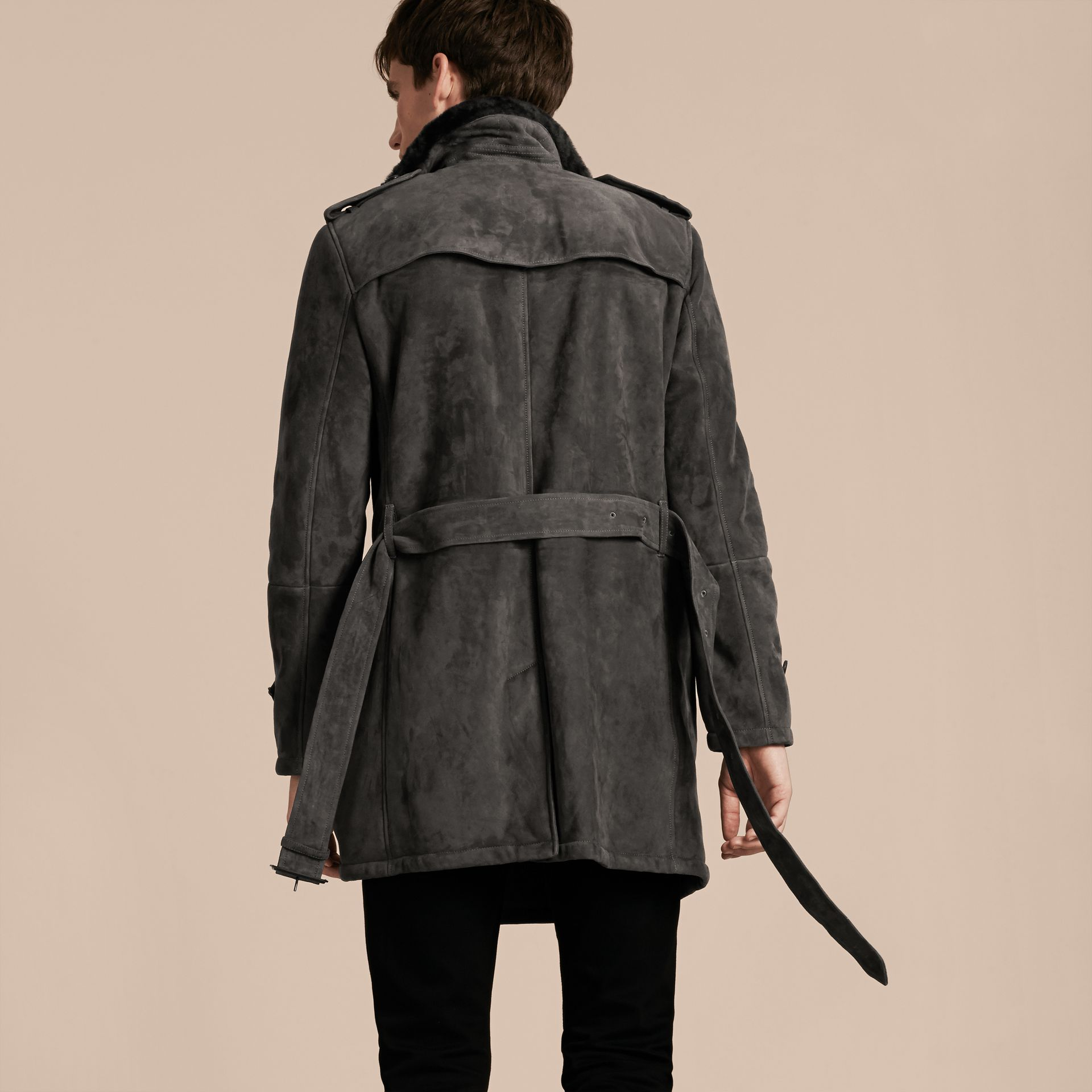 Charcoal Shearling Trench Coat - gallery image 3