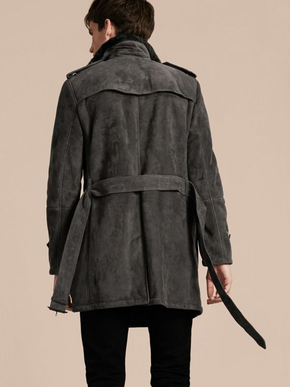 Nero fumo Trench coat in shearling - cell image 2