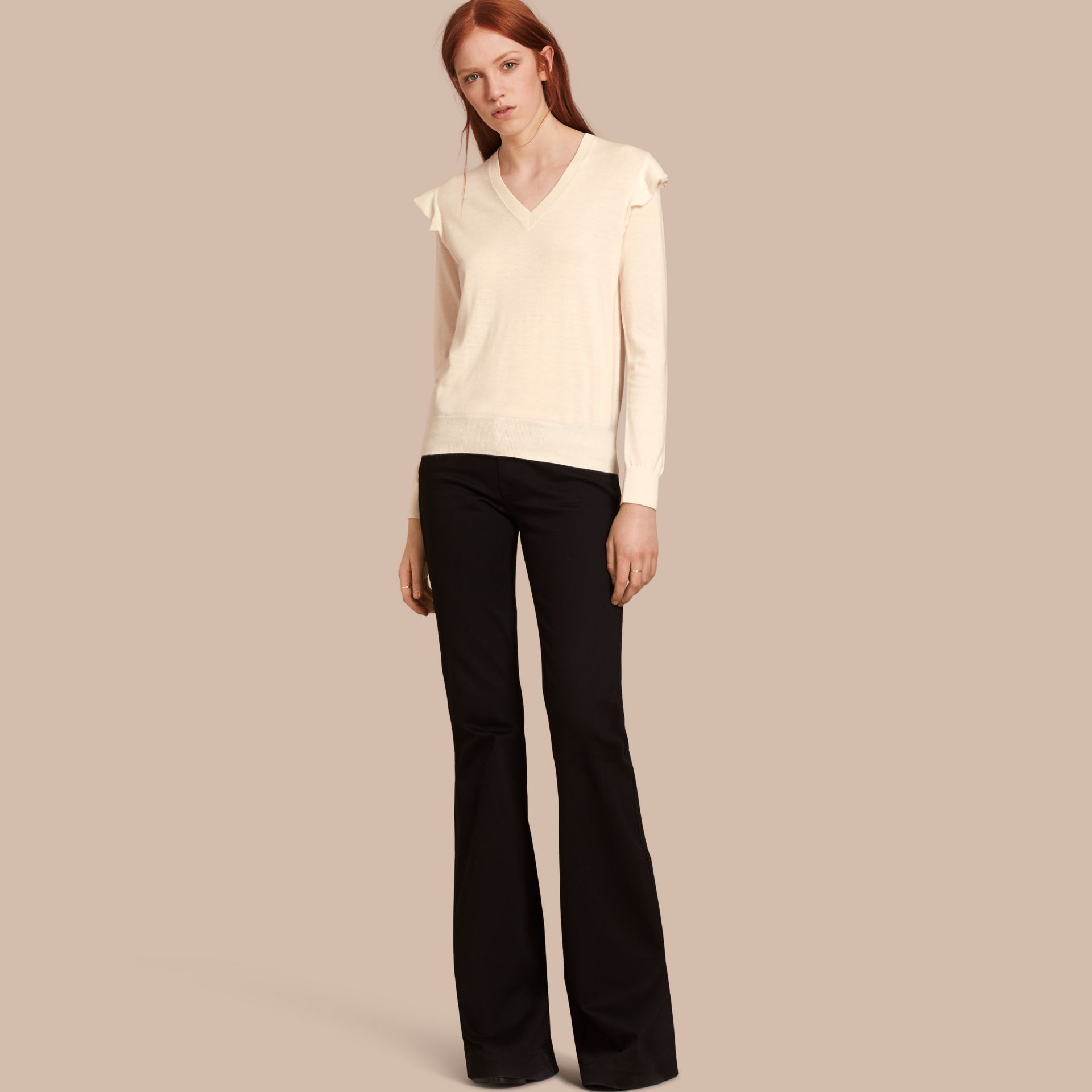 Natural white Cashmere Sweater with Frill Sleeves Natural White - gallery image 1