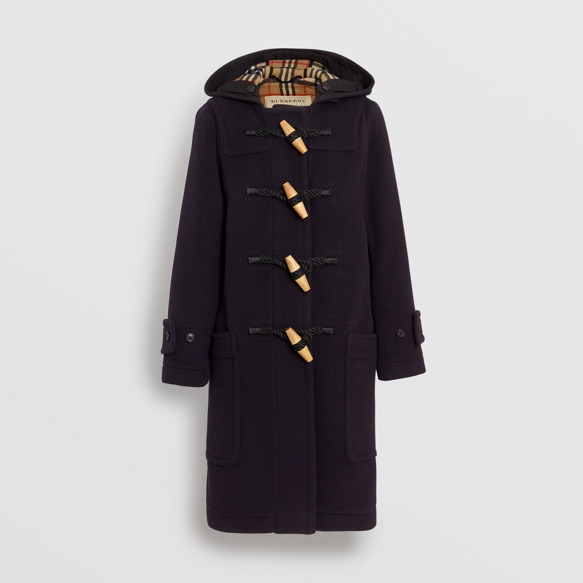 Vintage Check Detail Wool Blend Duffle Coat in Navy - Women | Burberry - gallery image 6