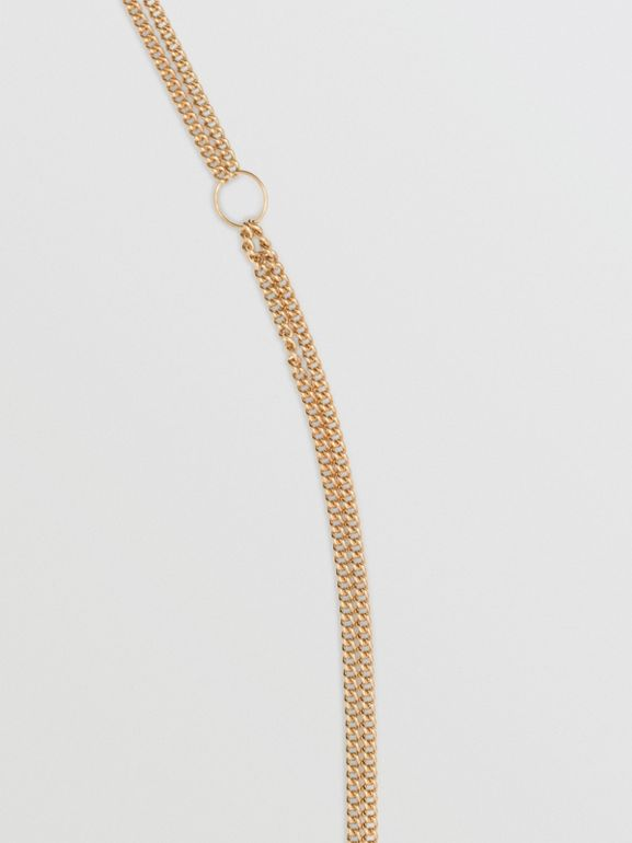 Heart and Marbled Resin Charm Chain Necklace in Light Gold - Women | Burberry - cell image 1